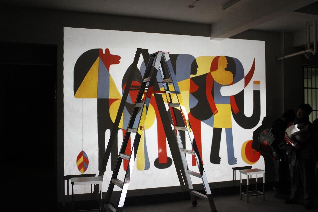 创意墙绘 冬日暖流图片